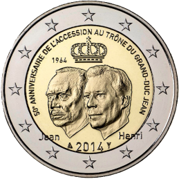 Lussemburgo 2014 - 2 euro 50° anniversario dell'ascesa al trono del granduca Giovanni.