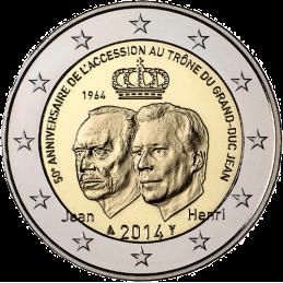 Luxemburgo 2014 - 2 euros 50.o trono del Gran Duque Jean