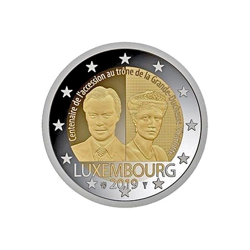 Lussemburgo 2019 - 2 euro 100° anniversario dell'ascesa al trono e del matrimonio della Granduchessa Carlotta.