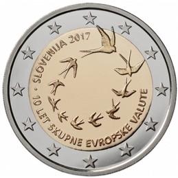 Slovenia 2017 - 2 euro commemorativo 10° anniversario dell'introduzione dell'Euro in Slovenia.