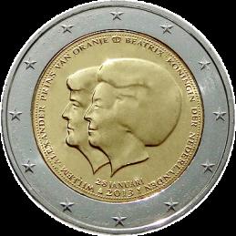 Abdicación conmemorativa de 2 euros de la reina Beatriz a favor de su hijo Guglilmo Alexander de los Países Bajos.