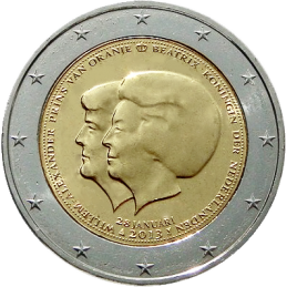 2 euro commemorative abdication of Queen Beatrix of the Netherlands in favor of her son Guglilmo Alexander of the Netherlands.