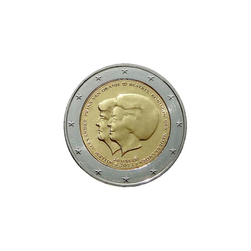 2 euros d'abdication commémorative de la reine Beatrix des Pays-Bas en faveur de son fils Guglilmo Alexander des Pays-Bas.