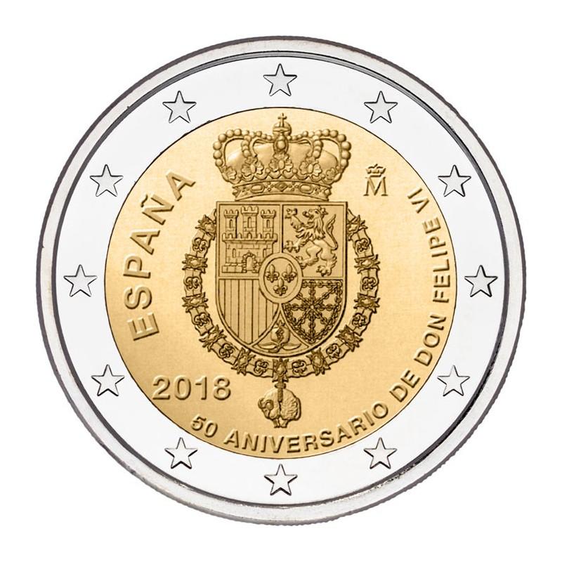 Spagna 2018 - 2 euro commemorativo 50° compleanno del re Filippo VI.