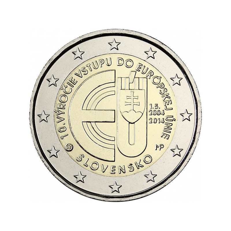 Slovacchia 2014 - 2 euro commemorativo 10° anniversario dell'ingresso della Slovacchia nell'Unione europea.