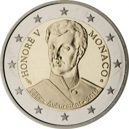 Monaco 2019 - 2 euro commemorativo 200° anniversario dell'ascesa al trono di Honore V.