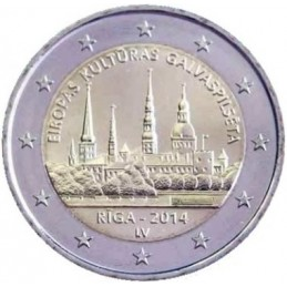 Letonia 2014 - Moneda conmemorativa de 2 euros Riga, capital europea de la cultura.