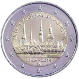 Lettonie 2014 - Pièce commémorative de 2 euros Riga capitale européenne de la culture.