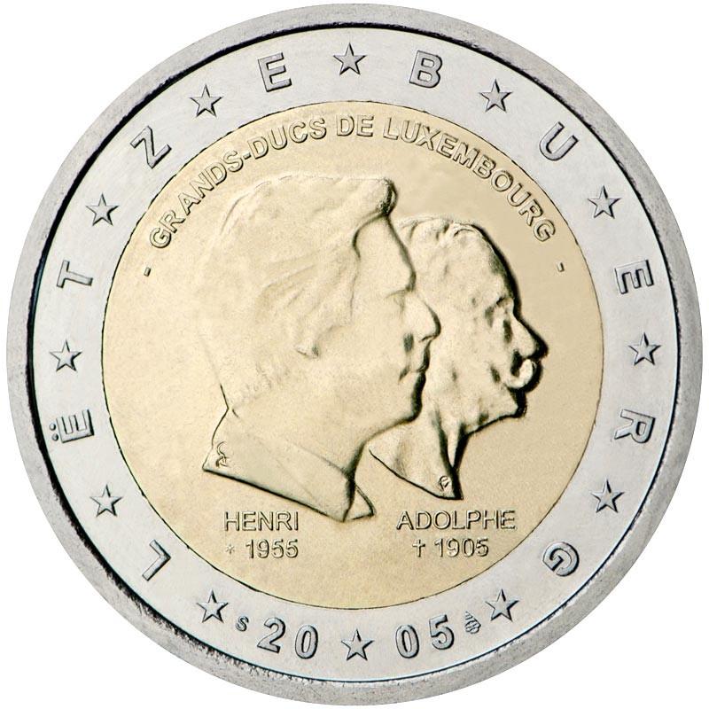 Lussemburgo 2005 - 2 euro commemorativo 100° della morte del Granduca Adolfo e 50° della nascita del Granduca Enrico.