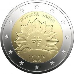Lettonie 2019 - 2 euros armoiries commémoratives de la Lettonie, soleil levant.