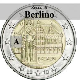 Germania 2010 - 2 euro commemorativo Municipio di Brema e Markplatz, 5° moneta dedicata ai Lander tedeschi- zecca di Berlino A