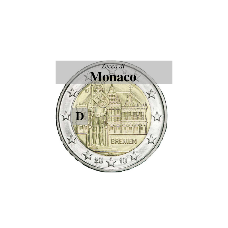 Municipio di Brema e Markplatz, 5° moneta dedicata ai Lander tedeschi - zecca di Monaco D