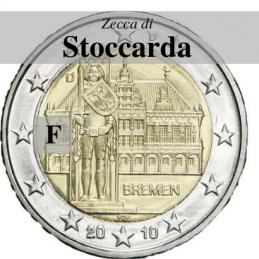 Germania 2010 - 2 euro commemorativo Municipio di Brema e Markplatz,5° moneta dedicata ai Lander tedeschi - zecca di Stoccarda F