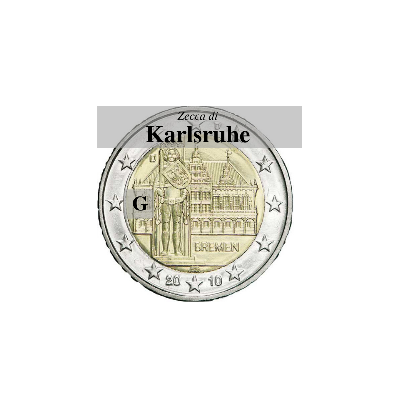 Germania 2010 - 2 euro commemorativo Municipio di Brema e Markplatz, 5° moneta dedicata ai Lander tedeschi- zecca di Karlsruhe G
