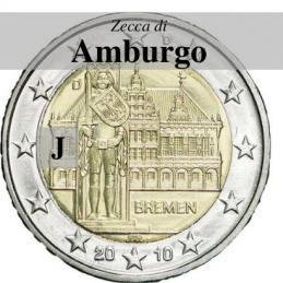 Germania 2010 - 2 euro commemorativo Municipio di Brema e Markplatz, 5° moneta dedicata ai Lander tedeschi- zecca di Amburgo J