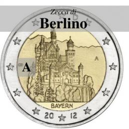 Germania 2012 - 2 euro commemorativo castello di Neuschwanstein, 7° moneta dedicata ai Lander tedeschi - zecca di Berlino A