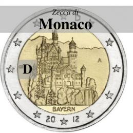 Germania 2012 - 2 euro commemorativo castello di Neuschwanstein, 7° moneta dedicata ai Lander tedeschi - zecca di Monaco D