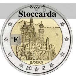 Germania 2012 - 2 euro commemorativo castello di Neuschwanstein, 7° moneta dedicata ai Lander tedeschi - zecca di Stoccarda F