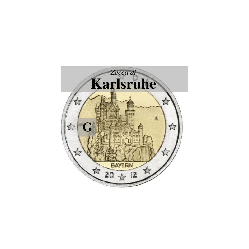 Germania 2012 - 2 euro commemorativo castello di Neuschwanstein, 7° moneta dedicata ai Lander tedeschi - zecca di Karlsruhe G