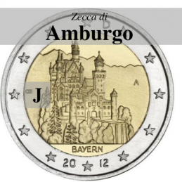 Germania 2012 - 2 euro commemorativo castello di Neuschwanstein, 7° moneta dedicata ai Lander tedeschi - zecca di Amburgo J