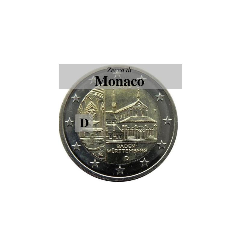 Germania 2013 - 2 euro commemorativo monastero di Maulbronn, 8° moneta dedicata ai Lander tedeschi - zecca di Monaco D