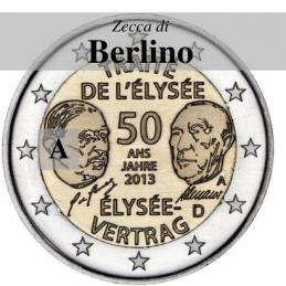 Germania 2013 - 2 euro commemorativo 50° anniversario della firma del Trattato dell'Eliseo - zecca di Berlino A