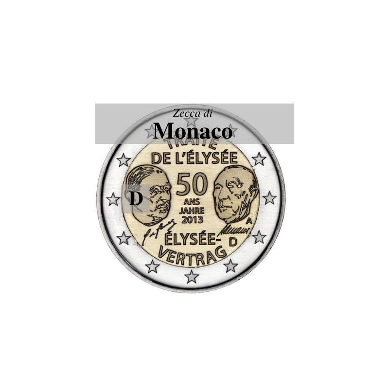 Germania 2013 - 2 euro commemorativo 50° anniversario della firma del Trattato dell'Eliseoi - zecca di Monaco D