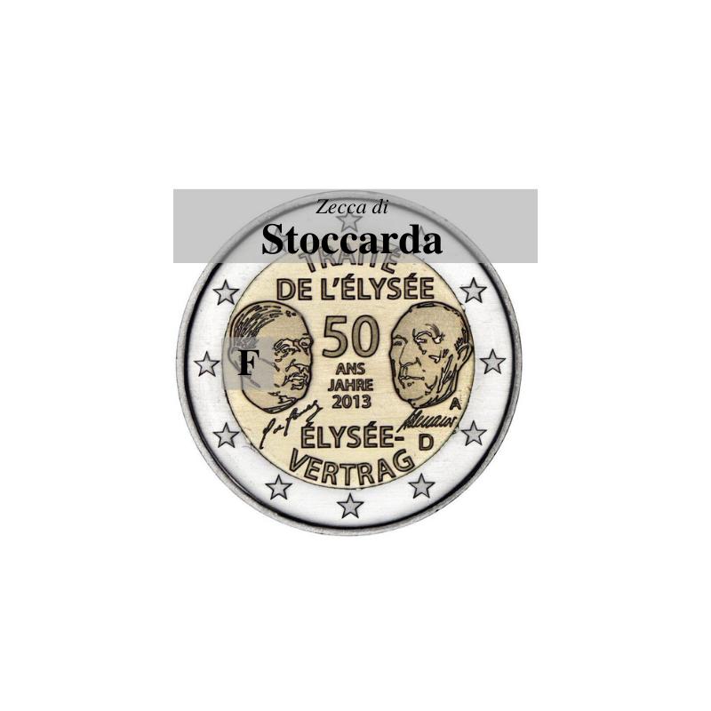 Germania 2013 - 2 euro commemorativo 50° anniversario della firma del Trattato dell'Eliseo - zecca di Stoccarda F