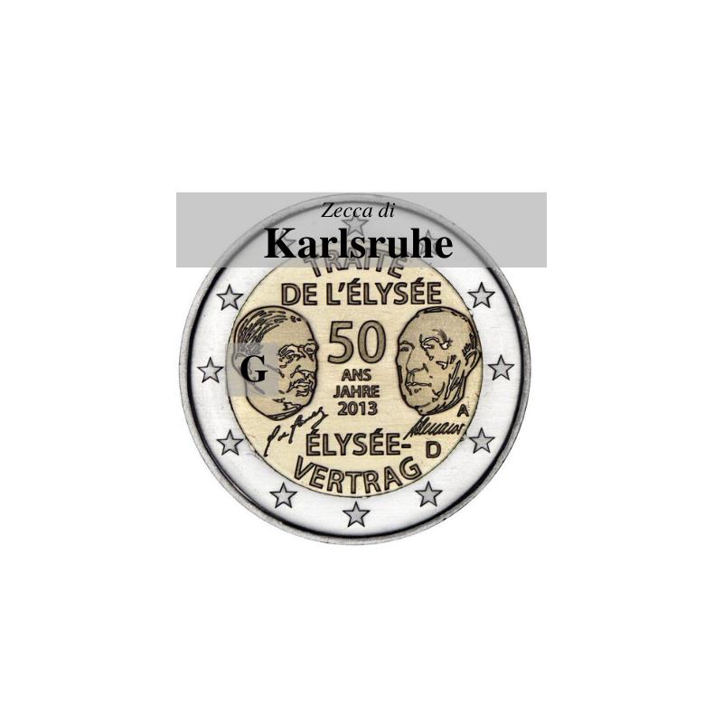 Germania 2013 - 2 euro commemorativo 50° anniversario della firma del Trattato dell'Eliseo - zecca di Karlsruhe G