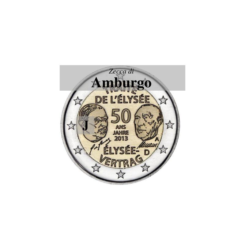 Germania 2013 - 2 euro commemorativo 50° anniversario della firma del Trattato dell'Eliseo - zecca di Amburgo J