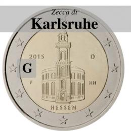 Germania 2015 - 2 euro commemorativo Paulskirche, 10° moneta della serie dedicata ai Lander tedeschi - zecca di Karlsruhe G