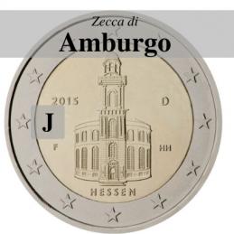 Germania 2015 - 2 euro commemorativo Paulskirche, 10° moneta della serie dedicata ai Lander tedeschi - zecca di Amburgo J