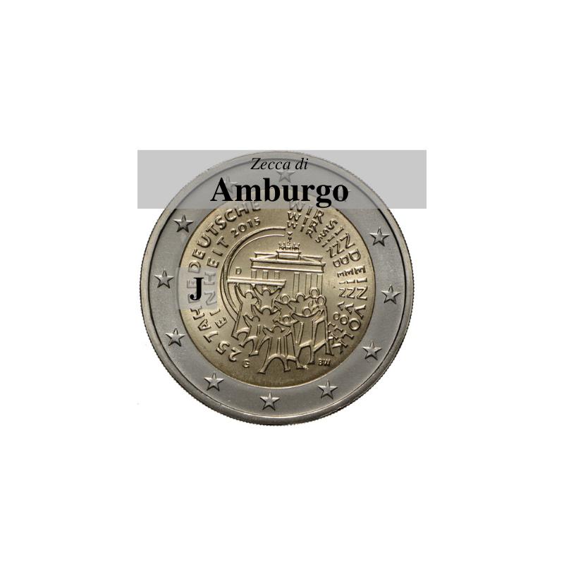 Germania 2015 - 2 euro commemorativo 25° anniversario della riunificazione tedesca - zecca di Amburgo J