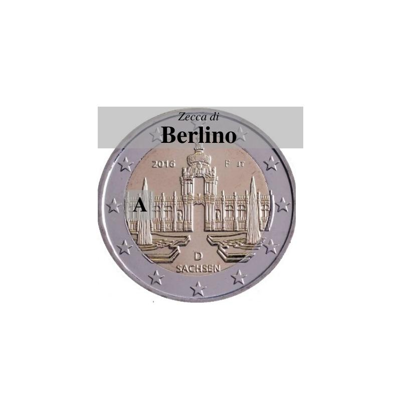 Germania 2016 - 2 euro commemorativo Zwinger a Dresda, 11° moneta della serie dedicata ai Lander tedeschi - zecca di Berlino A