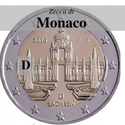 Germania 2016 - 2 euro commemorativo Zwinger a Dresda, 11° moneta della serie dedicata ai Lander tedeschi - zecca di Monaco D