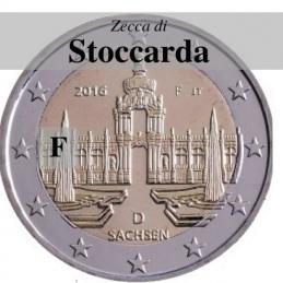 Germania 2016 - 2 euro commemorativo Zwinger a Dresda, 11° moneta della serie dedicata ai Lander tedeschi - zecca di Stoccarda F