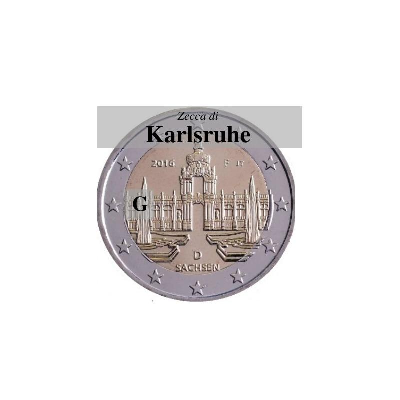 Germania 2016 - 2 euro commemorativo Zwinger a Dresda, 11° moneta della serie dedicata ai Lander tedeschi - zecca di Karlsruhe G