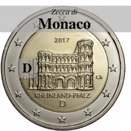 Germania 2017 - 2 euro commemorativo Porta Nigra a Treviri, 12° moneta dedicata ai Lander tedeschi - zecca di Monaco D