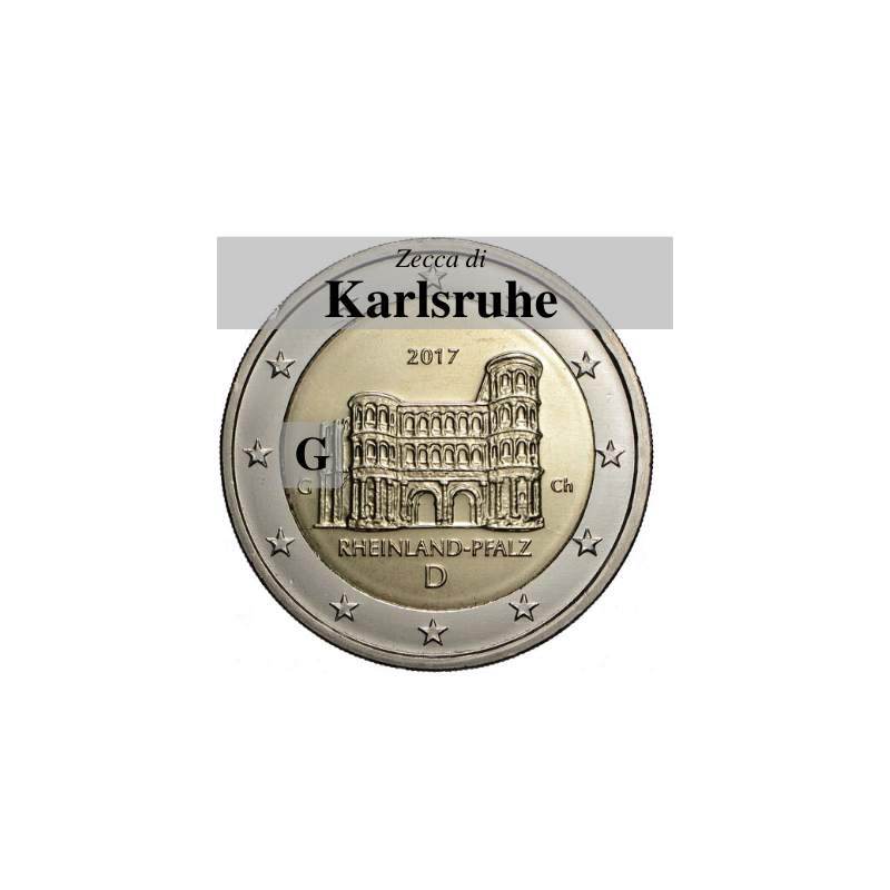 Germania 2017 - 2 euro commemorativo Porta Nigra a Treviri, 12° moneta dedicata ai Lander tedeschi - zecca di Karlsruhe G
