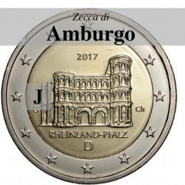 Germania 2017 - 2 euro commemorativo Porta Nigra a Treviri, 12° moneta dedicata ai Lander tedeschi - zecca di Amburgo J