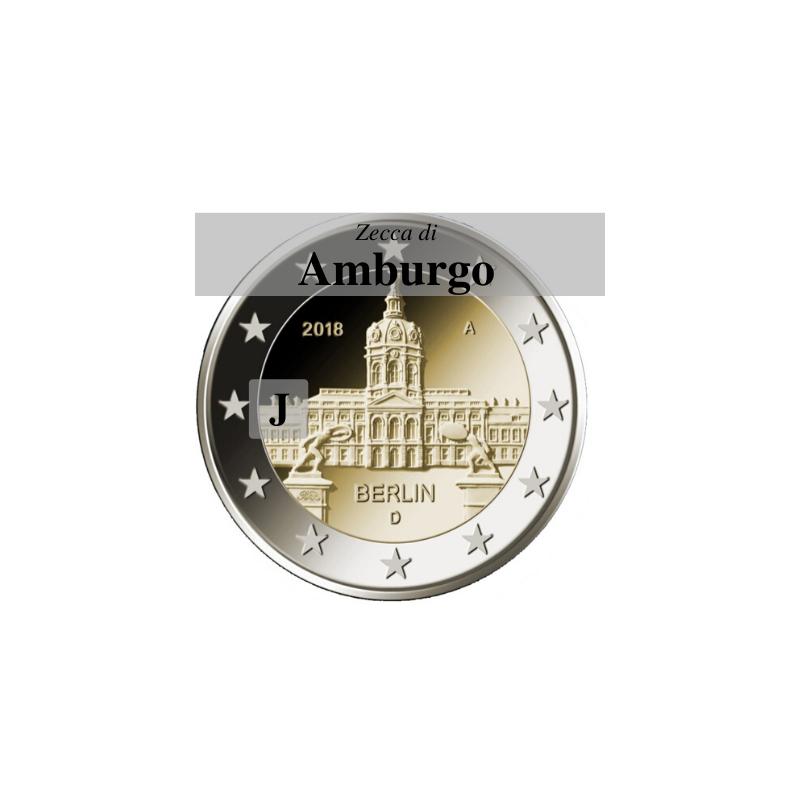Germania 2018 - 2 euro commemorativo castello di Charlottenburg, 13° moneta dedicata ai Lander tedeschi - zecca di Amburgo J