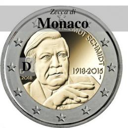 Germania 2018 - 2 euro commemorativo 100° anniversario dalla nascita di Helmut Schmidt - zecca di Monaco D