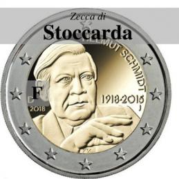Germania 2018 - 2 euro commemorativo 100° anniversario dalla nascita di Helmut Schmidt - zecca di Stoccarda F