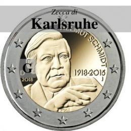 Germania 2018 - 2 euro commemorativo 100° anniversario dalla nascita di Helmut Schmidt - zecca di Karlsruhe G