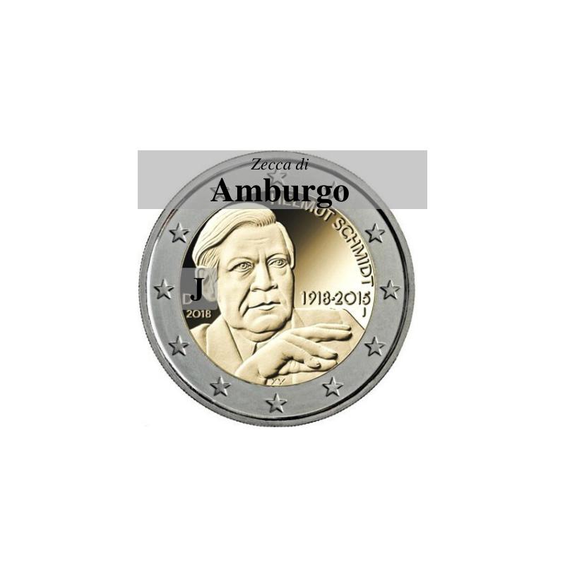 Germania 2018 - 2 euro commemorativo 100° anniversario dalla nascita di Helmut Schmidt - zecca di Amburgo J