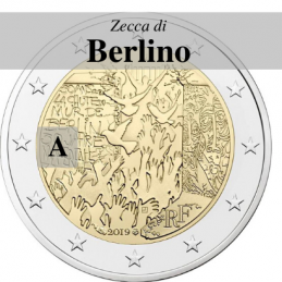 Germania 2019 - 2 euro commemorativo 30° anniversario della caduta del Muro di Berlino - zecca di Berlino A
