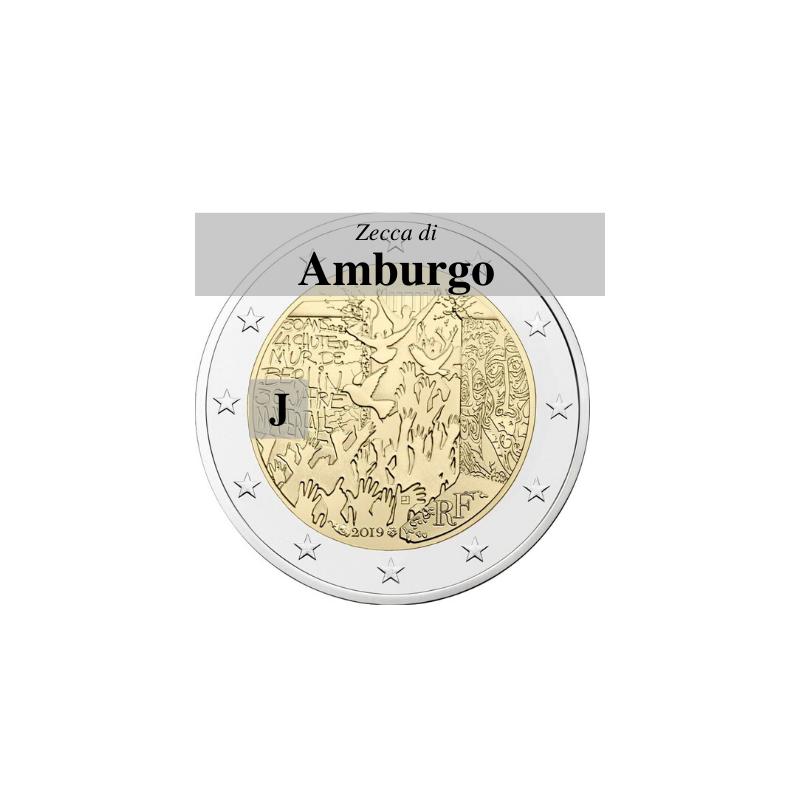 Germania 2019 - 2 euro commemorativo 30° anniversario della caduta del Muro di Berlino - zecca di Amburgo J