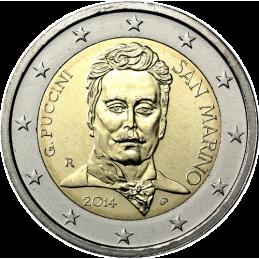 San Marino 2014 - 2 euro commemorativo 90° anniversario della morte di Giacomo Puccini (1858 - 1924), compositore italiano.