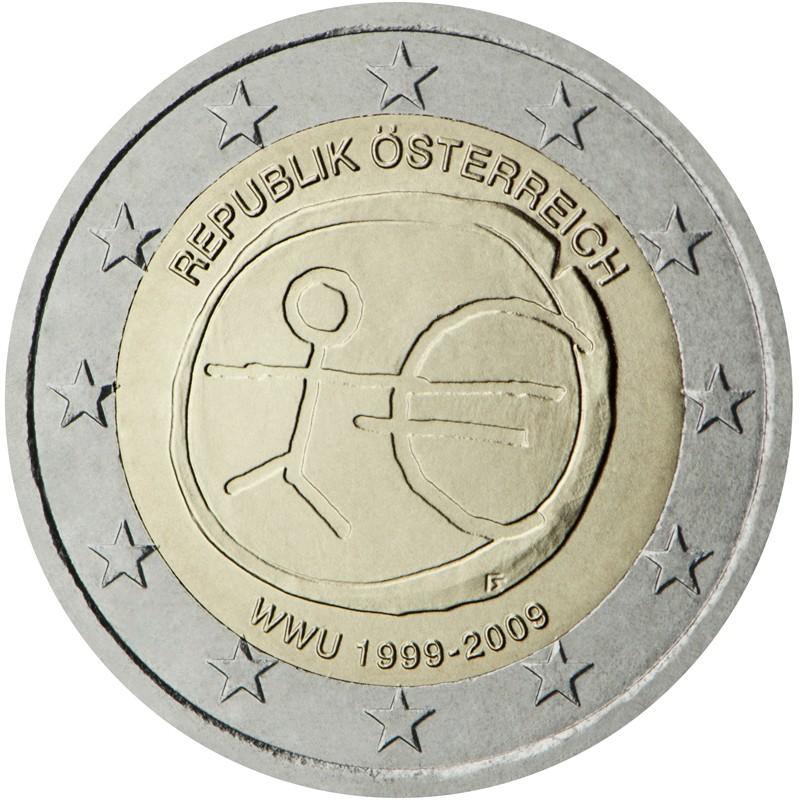 Austria 2009 - 2 euro commemorativo 10° anniversario dell'Unione Economica e Monetaria.