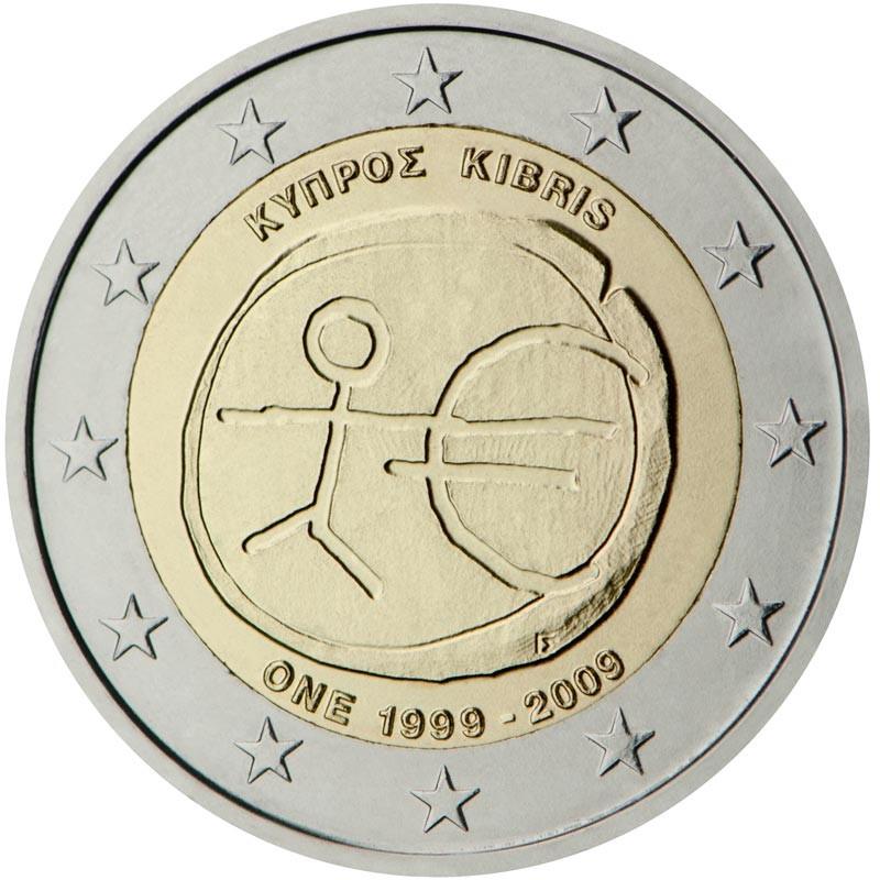 Cipro 2009 - 2 euro commemorativo 10° anniversario dell'Unione Economica e Monetaria.